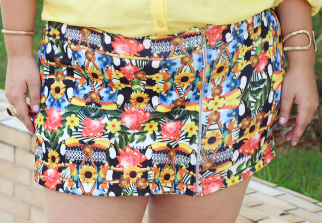 short saia plus size estampado