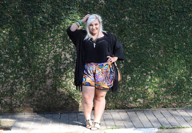 short plus size e quimono