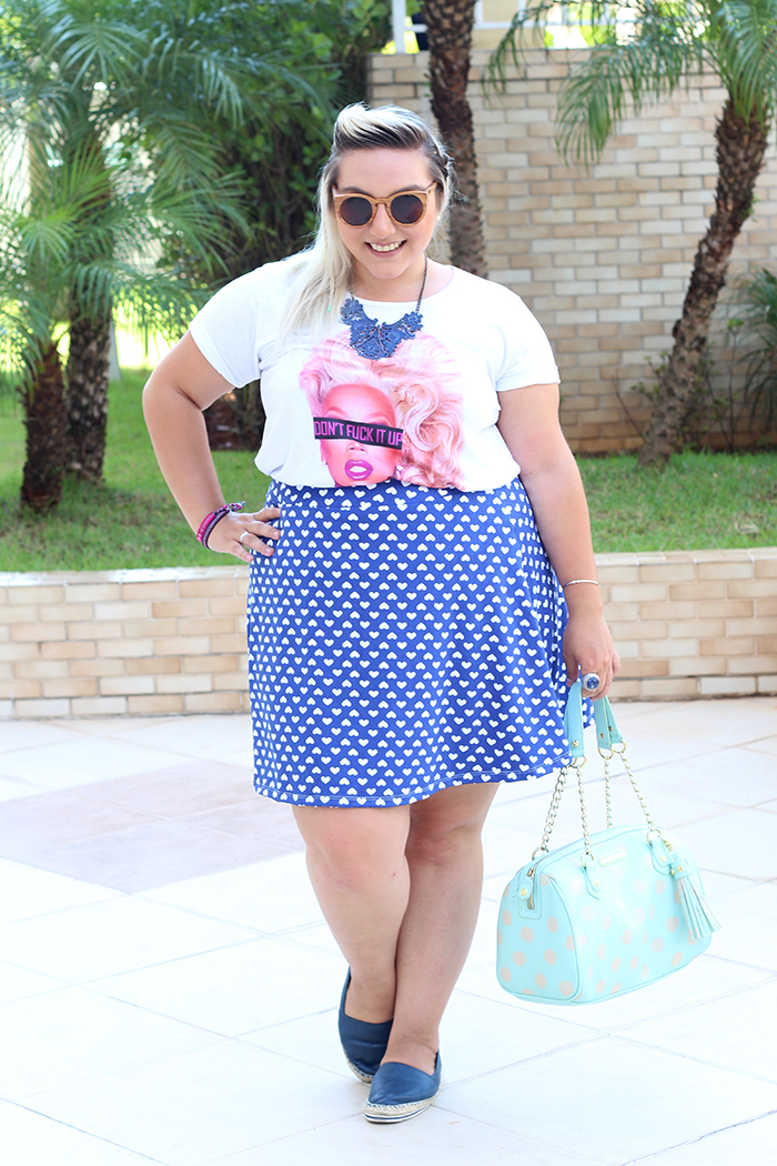 look plus size fun camiseta ru paul e saia estampada 2