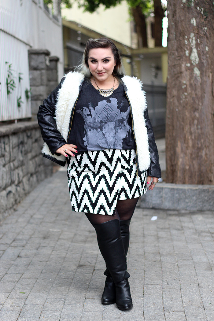 look de inverno plus size bota over the knee